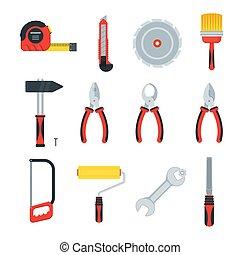 construcción, construcción de casas, plano, herramientas, reparación