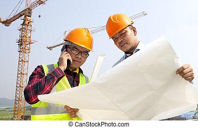 construcción, constructor, el mirar, planes