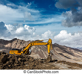 construcción de carreteras, en, montañas, himalaya