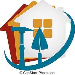 construcción, de, casas, vector