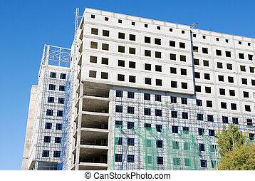 construcción, de, edificio de oficinas