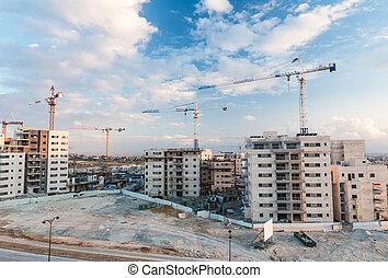 construcción, de, la ciudad