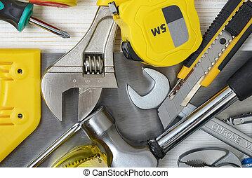 construcción, de madera, workbench., vista, diy, cima, abierto, space., instrumentos, herramientas