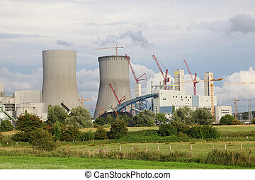 construcción, de, un, central nuclear