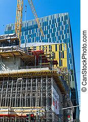 construcción, de, un, edificio de oficinas