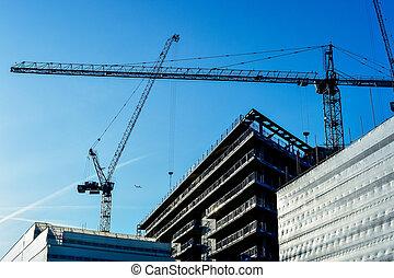 construcción, de, un, torre, edificio