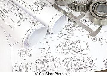 construcción, dibujos, calibrador, y, cojinete