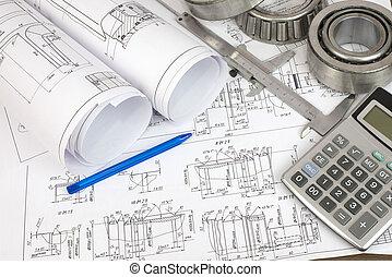 construcción, drawings., escritorio, ingeniero