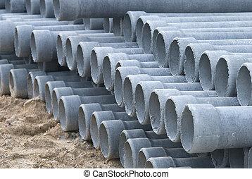 construcción, drenaje, concreto, sitio, tubo, pila