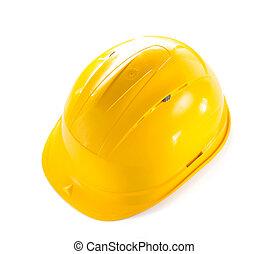 construcción, duro, sombrero, aislado, blanco