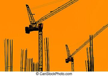 construcción edificio, con, grúas, en, el, evening.