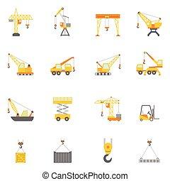 construcción edificio, grúa, plano, iconos, conjunto