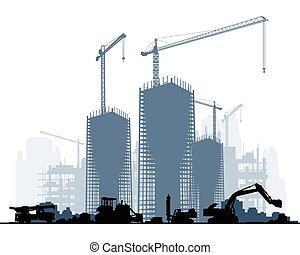 construcción edificio, maquinaria