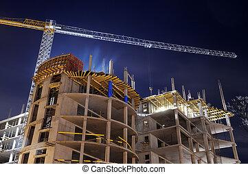 construcción edificio, sitio, por la noche