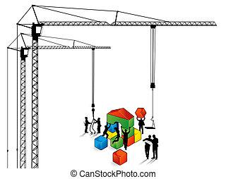 construcción edificio, trabaja