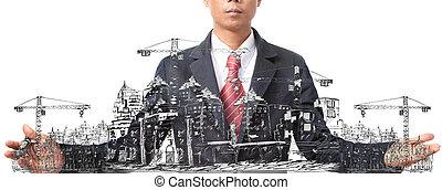 construcción, el bosquejar, edificio