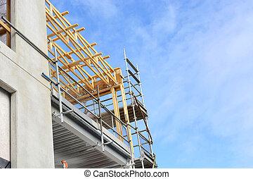 construcción, en, medio, oficina, edificio comercial