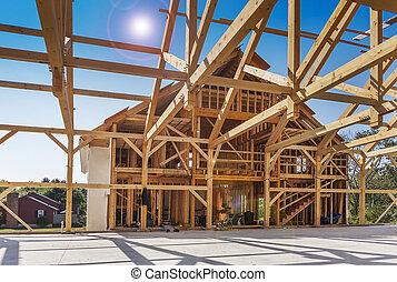 construcción, encuadrado, casa, nuevo