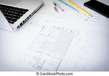 construcción, equipment., reparación, work., dibujos, para, edificio, arquitectónico, proyecto, cianotipo, rollos, y, divisor, compás, en, mesa., ingeniería, herramientas, concept., espacio de copia