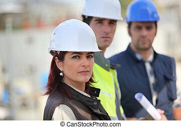 construcción, equipo, en, sitio