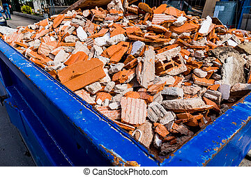 construcción, escombros, sitio