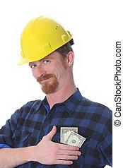 construcción, ganancias, trabajador