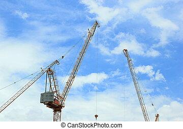 construcción, grúas, para, arquitectónico, y, ingeniería, trabajo