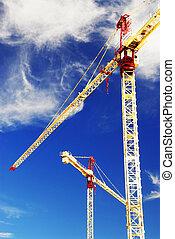 construcción, grúas