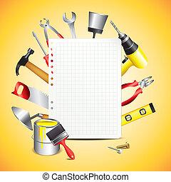 construcción, herramientas, con, blanco, papel