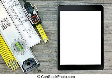 construcción, herramientas, con, cianotipo, y, tableta de digital, encima, gris, de madera, plano de fondo