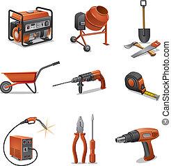 construcción, herramientas, iconos