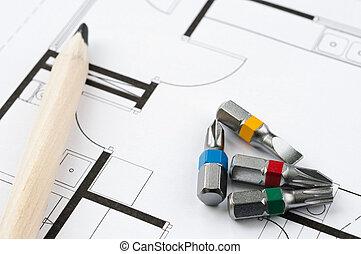construcción, herramientas, plan