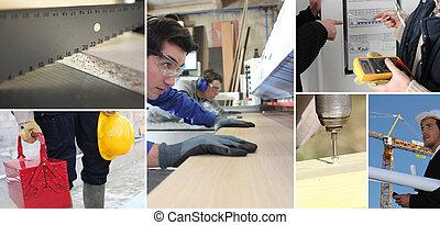 construcción, implicado, diferente, trueques, mosaico