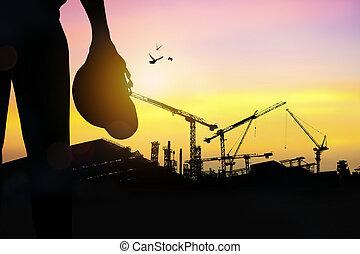 construcción, ingeniero, silueta, tiempo extraordinario, ...