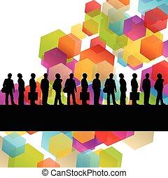 construcción, ingeniero, trabajador, gente, siluetas, en, activo, industrial, empresa / negocio, resumen, plano de fondo, ilustración