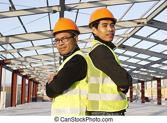 construcción, ingenieros