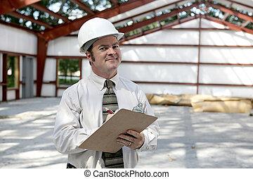 construcción, inspector, -, satisfecho