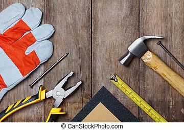 construcción, instrumentos, en, tabla de madera