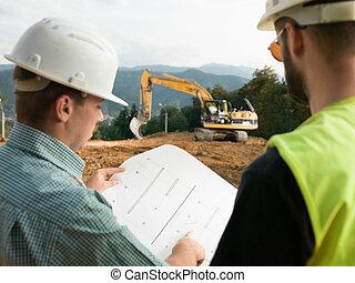 construcción, lectura, contratistas, planes