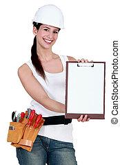 construcción, mujer, con, un, blanco, portapapeles