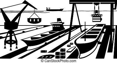 construcción naval, con, diques, y, grúas