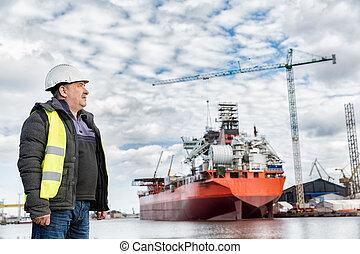 construcción naval, ingeniero, en, el, dockside, en, un,...