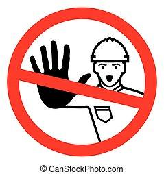 construcción, -, negado, acceso, trabajador