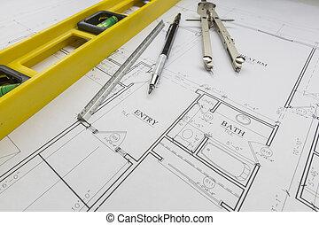 construcción, nivel, lápiz, regla, y, compás, reclinación encendido, casa, planes
