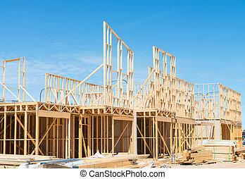 construcción, nuevo, framing., hogar