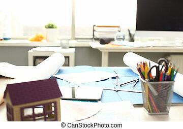 construcción, oficina, ingeniero, vacío, trabajando, tabla