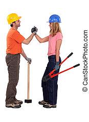 construcción, pareja