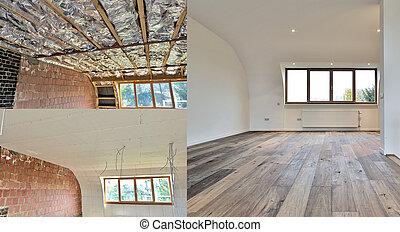 construcción, pasos, techo