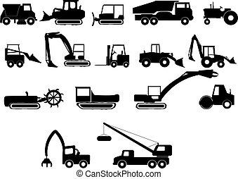 construcción, pesado, máquinas
