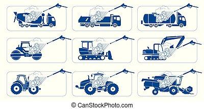 construcción, pesado, transporte, lavado, presentación, vehículos, machinery., camión, cleaning., pesadas, ilustración, profundo, camiones, systems., lavado